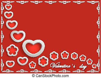 Card for Valentine's Day on a Red Background.