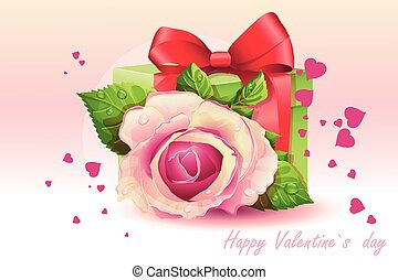 Card for Valentine's Day pink rose with green box