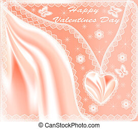 card for Valentine's Day with hearts  silk