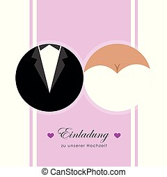 card for wedding invitation bride and groom