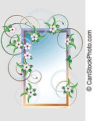 card., fram, blossom., cereja, quadro