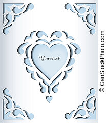 card., frame, papier, mal, cutout, design.