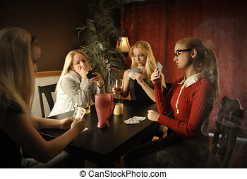 Card Game at Table with Same Woman - A woman with four...