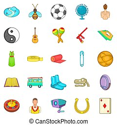 Card game icons set, cartoon style