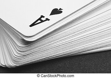 Card game with ace of spades detail. Black and white....