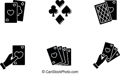 Card games black glyph icons set on white space