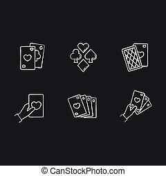 Card games chalk white icons set on black background