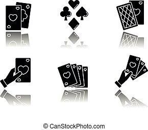 Card games drop shadow black glyph icons set