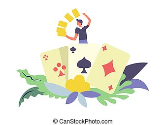 Card games gambler male with gold isolated vector