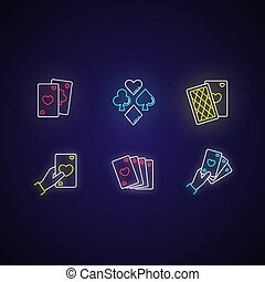Card games neon light icons set