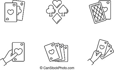 Card games pixel perfect linear icons set