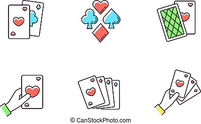 Card games RGB color icons set