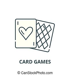 Card games vector line icon, linear concept, outline sign, symbol