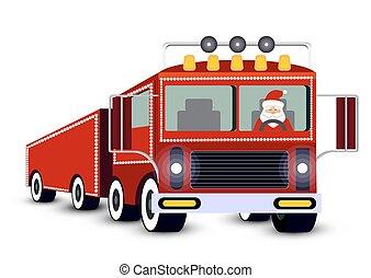 card., geleider, claus, kerstman, truck., kerstmis