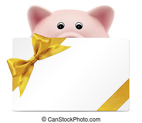 card gift with piggy bank, golden ribbon bow, Isolated on white background