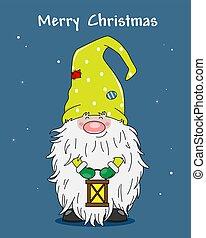card., gnome, noël, mignon, lanterne, salutation