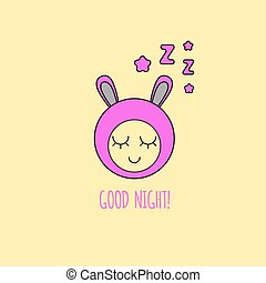 Card good night. Smiley sleeping with sound zzz. Vector