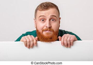 card., grande, presa a terra, bianco, uomo, barba