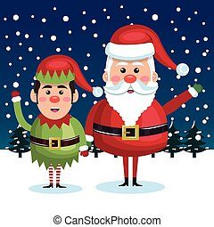 card greeting christmas santa claus with elf blue background
