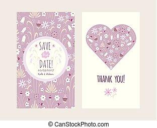 card., griffonnage, flowers., salutation, invitation., mariage