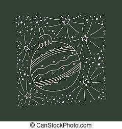 card., gruß, abbildung, hand, vektor, gezeichnet