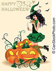 card., halloween, felice, sexy, strega