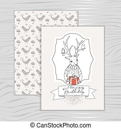 card happy birthday with a deer