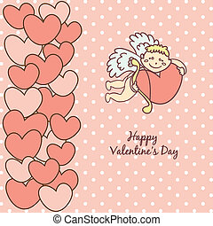 card Happy Valentine's Day, cupid with bow