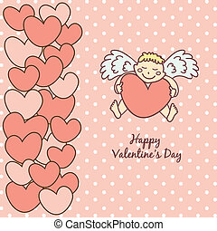 card Happy Valentine's Day, cupid with heart