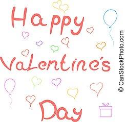 Card Happy Valentine's Day . Vector illustration .