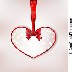 Card heart shaped with silk bow for Valentine Day -...