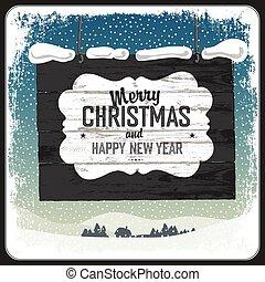 card., hils, vektor, retro, glædelig jul