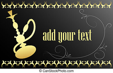 Card hookah - Card for hookah, gold on black background