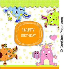 card, hos, farverig, kaniner, by, begivenheder liv
