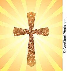 card, hos, vinhøst, kristen, kors, en