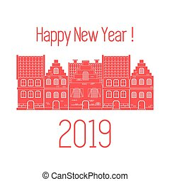 card., houses., vektor, 2019, jahr, neu , glücklich