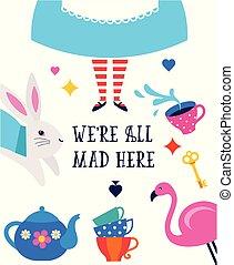 card., ici, nous, pays merveilles, alice, fou, affiche, bannière