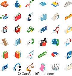 Card icons set, isometric style