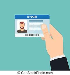 card., illustrazione, mano, vettore, presa a terra, id