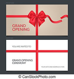 card., ilustração, abertura, arco, vetorial, vermelho, modelo, grandioso, convite, convidar