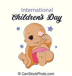 card., ilustración, niños, fondo., s, vector, blanco, día