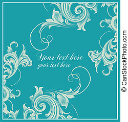 Card with curls in Baroque style