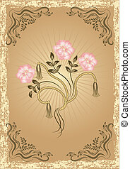 Card in retro style with flowers