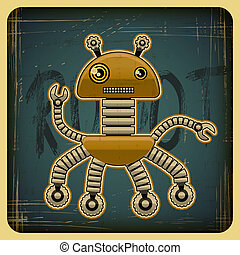 Card in retro style with the robot.