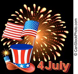 Card Independence Day with fireworks hat and the flag of America