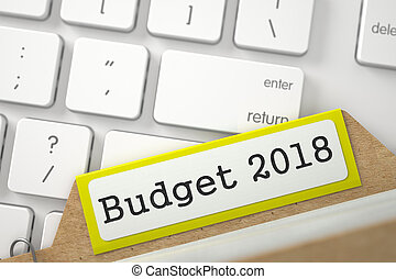 Card Index with Budget 2018. 3D. - Yellow Sort Index Card...