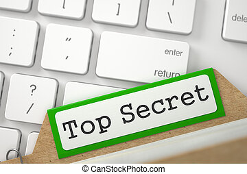 Card Index with Top Secret. 3D.
