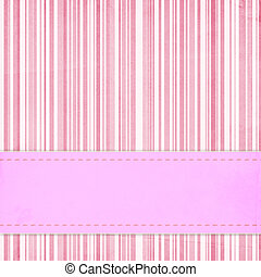 Card invitation  template for baby shower, wedding or birthday with  pink stripes