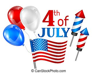 card., köszönés, ábra, amerikai, negyedik, hazafias, július, nap, szabadság