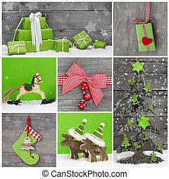 card., köszönés, karácsony, dekoráció, vidám, white christmas, piros